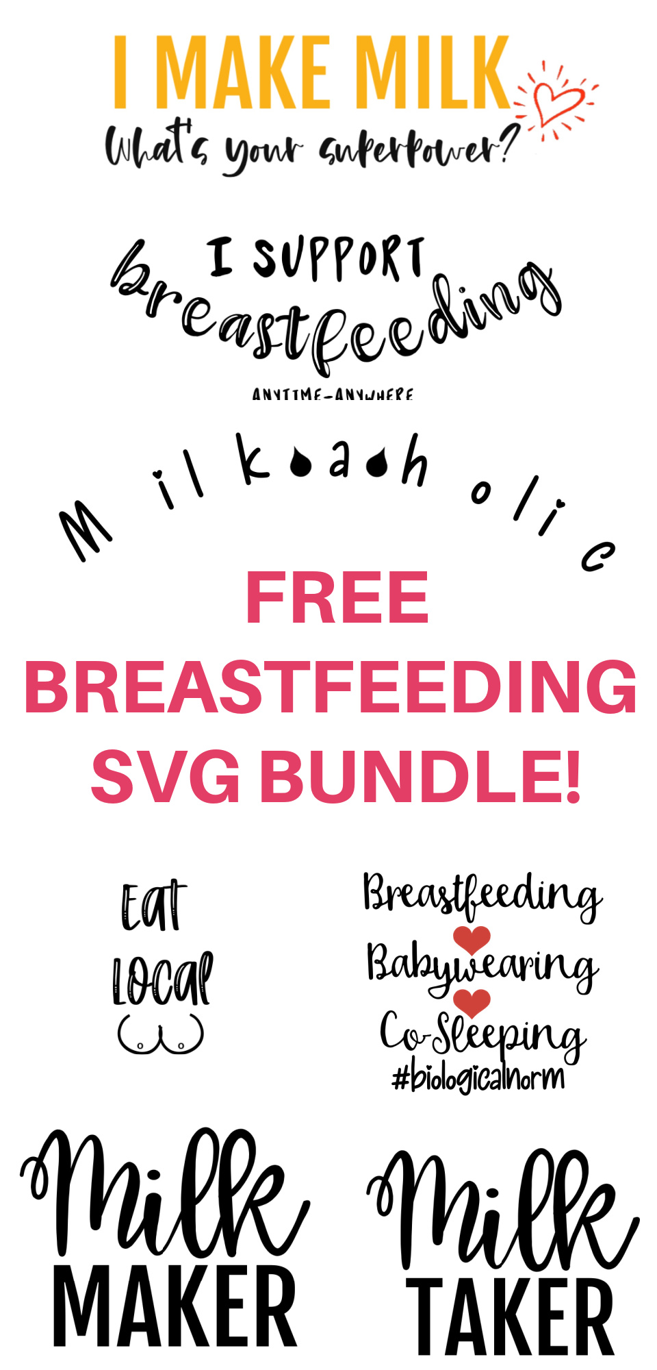 Celebrate breastfeeding with one of these free breastfeeding SVG files (also available as JPG). Add them to t-shirts, onesies, bibs, walls...whatever you want!